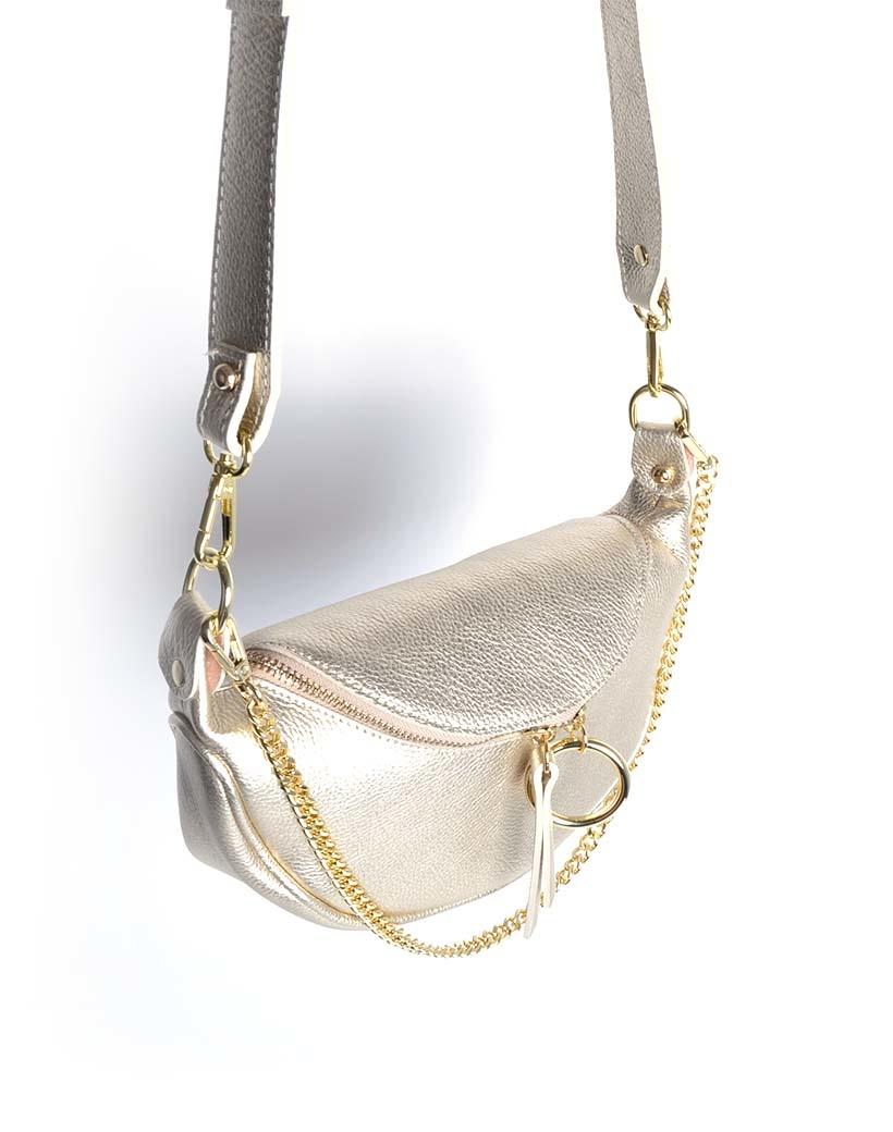Leren Schoudertas Metallic Ring goud gouden leren tassen crossbody tassen kettinghengsel dames kopen bestellen giuliano side