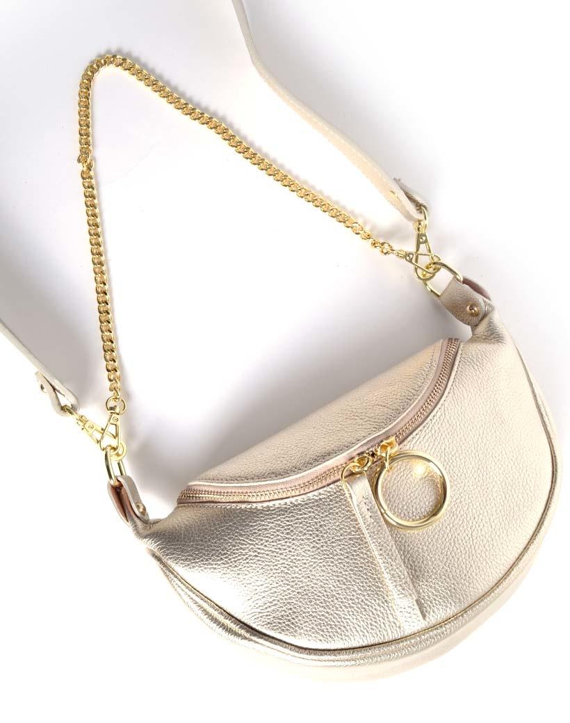 Leren Schoudertas Metallic Ring goud gouden leren tassen crossbody tassen kettinghengsel dames kopen bestellen giuliano