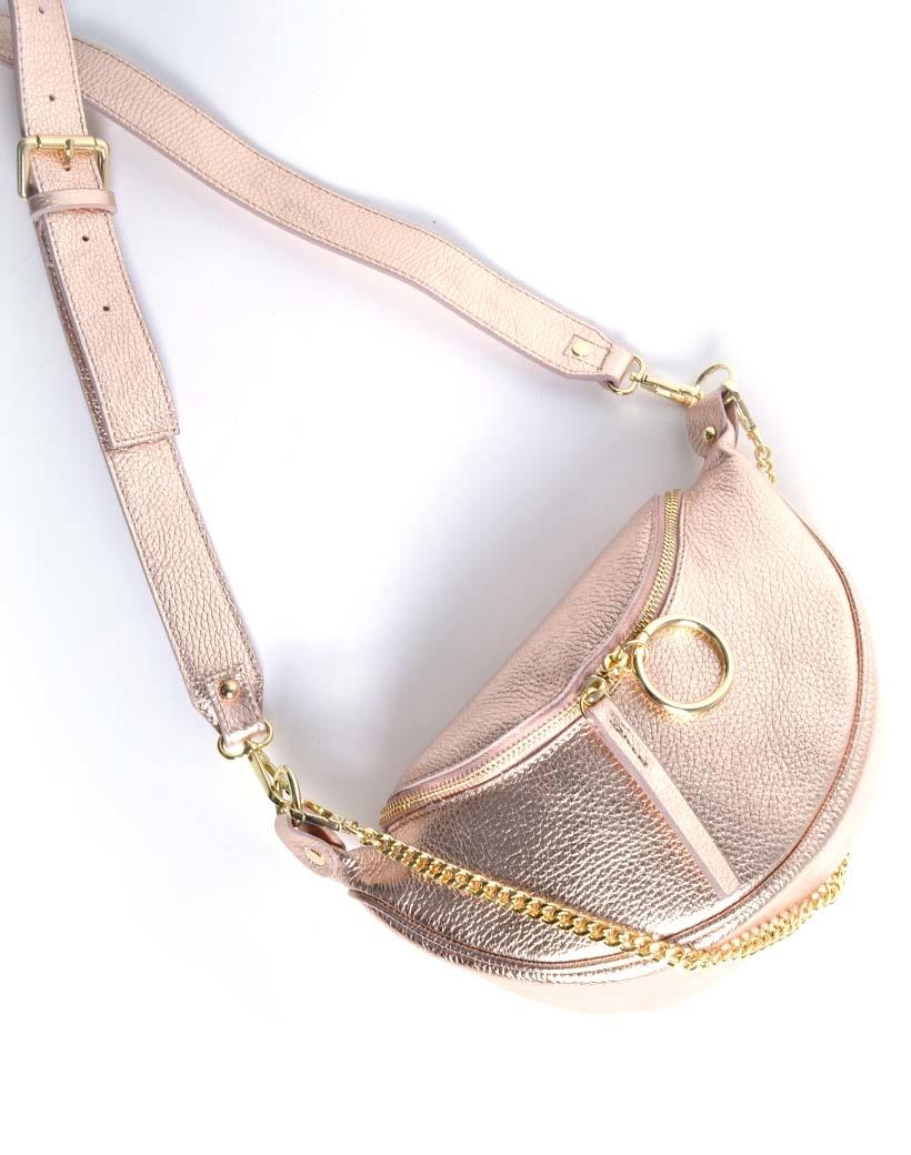 Leren Schoudertas Metallic Ring rose goud gouden leren tassen crossbody tassen kettinghengsel dames kopen bestellen giuliano