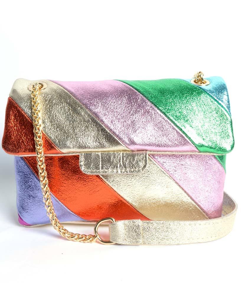 Leren-Schoudertas-Rainbow-Metallic Chain roze-geel-groen-fuchsia-lila-look-a-like-it-bags-regenboogkleuren-giuliano-bestellen-kopen-nu