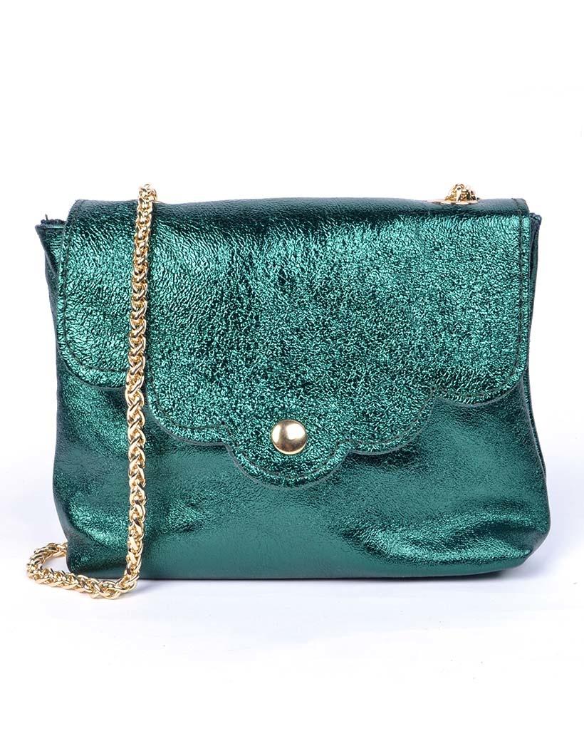 Leren Schoudertasje Very Metallic donker groen groene kleine trendy vel gekleurde tassen gouden kettinghegsel giuliano bags kopen bestellen