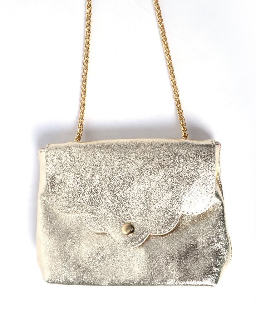 Leren Schoudertasje Very Metallic goud gouden kleine trendy vel gekleurde tassen gouden kettinghegsel giuliano bags kopen bestellen