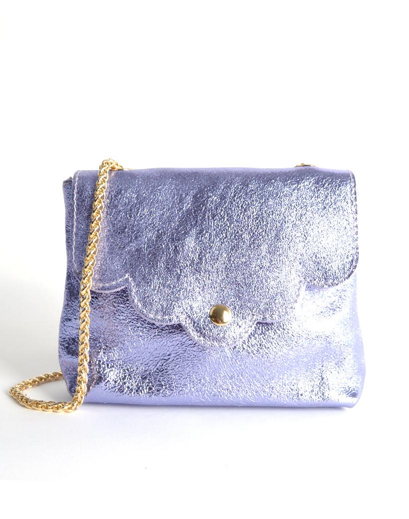 Leren Schoudertasje Very Metallic lila kleine trendy vel gekleurde tassen gouden kettinghegsel giuliano bags kopen bestellen