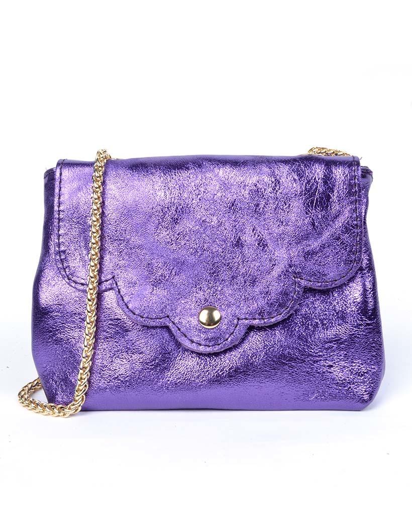 Leren Schoudertasje Very Metallic paars paarse kleine trendy vel gekleurde tassen gouden kettinghegsel giuliano bags kopen bestellen