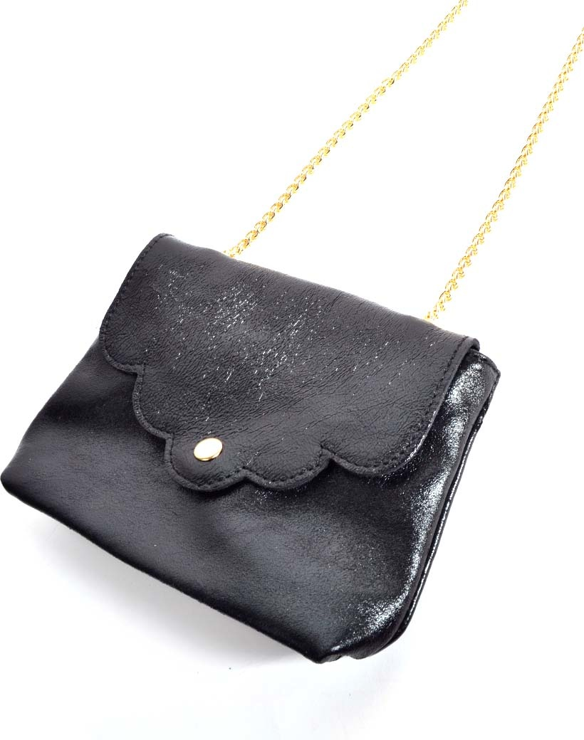 Leren Schoudertasje Very Metallic zwart zwarte kleine trendy vel gekleurde tassen gouden kettinghegsel giuliano bags kopen bestellen