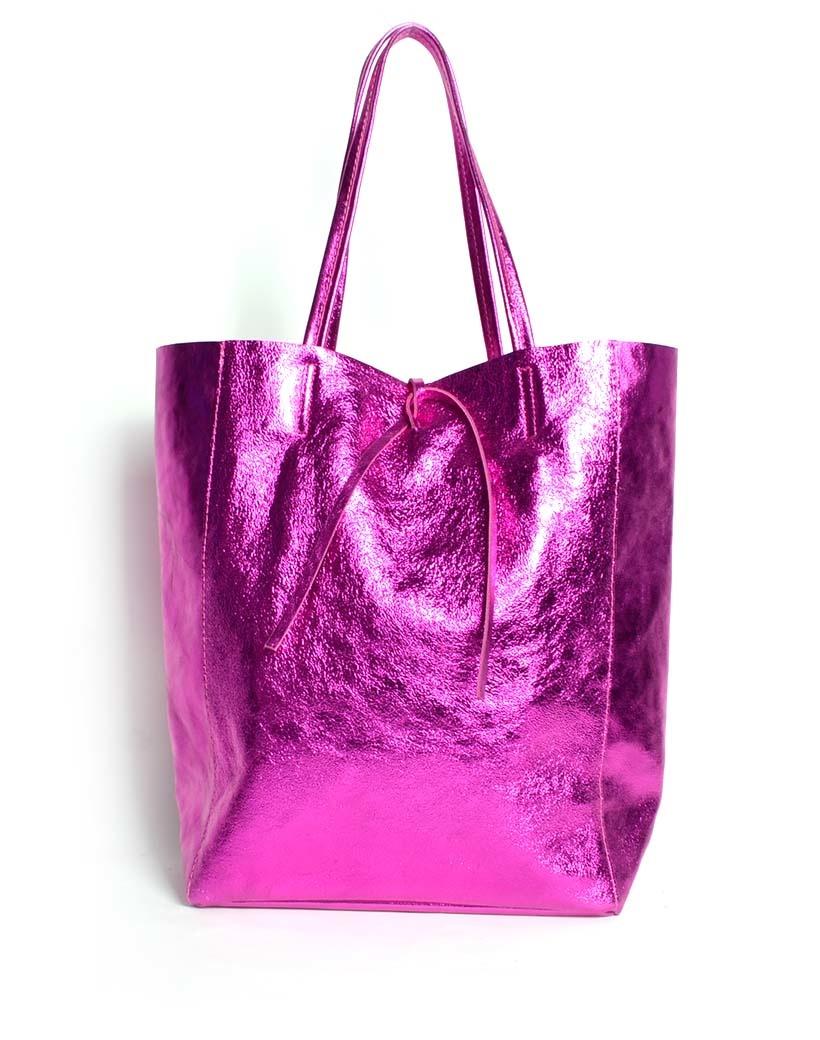 Leren-Shopper-Simple-Metallic-Fuchsia -metallic-lederen-shoppers-grote-tassen-kopen-glans-print-giuliano-tassen-kopen