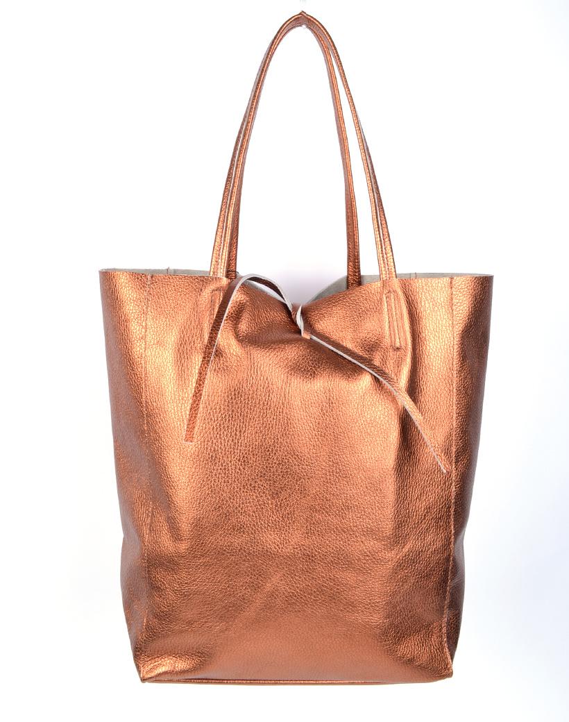 Leren-Shopper-Simple-Metallic-fel brons-bronzen-metallic-lederen-shoppers-grote-tassen-kopen-glans-print-giuliano-tassen-kopen-1