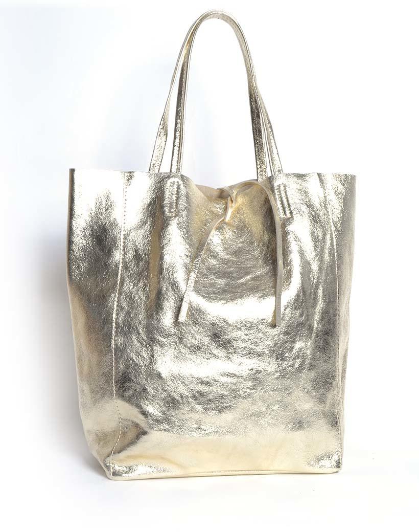 Leren-Shopper-Simple-Metallic-goud gold-metallic-lederen-shoppers-grote-tassen-kopen-glans-print-giuliano-tassen-kopen