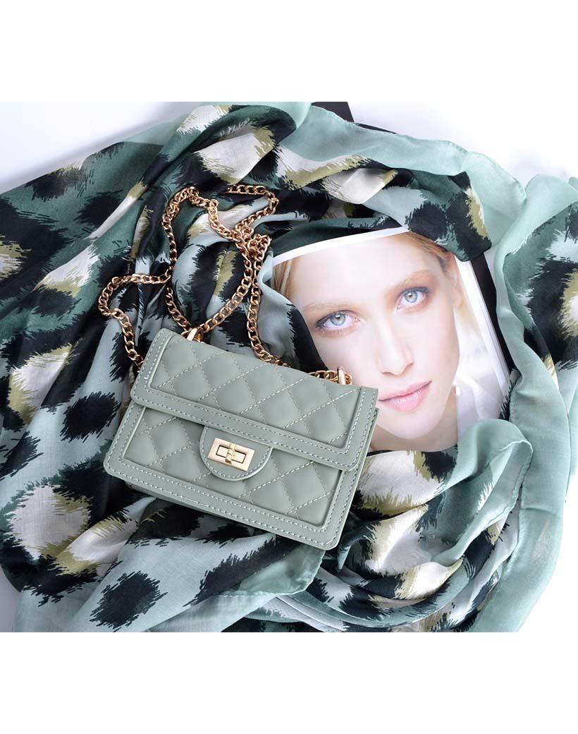 Schoudertas Happy Summer groen groene trendy dames tassen met stiksels en gouden kettinghengsel musthave giuliano tassen bestellen