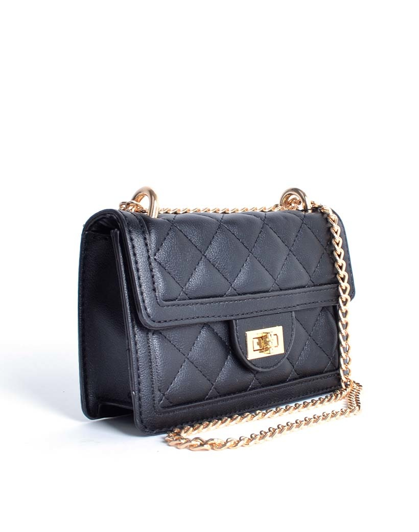 Schoudertas Happy Summer zwart zwarte trendy dames tassen met stiksels en gouden kettinghengsel musthave giuliano tassen kopen side
