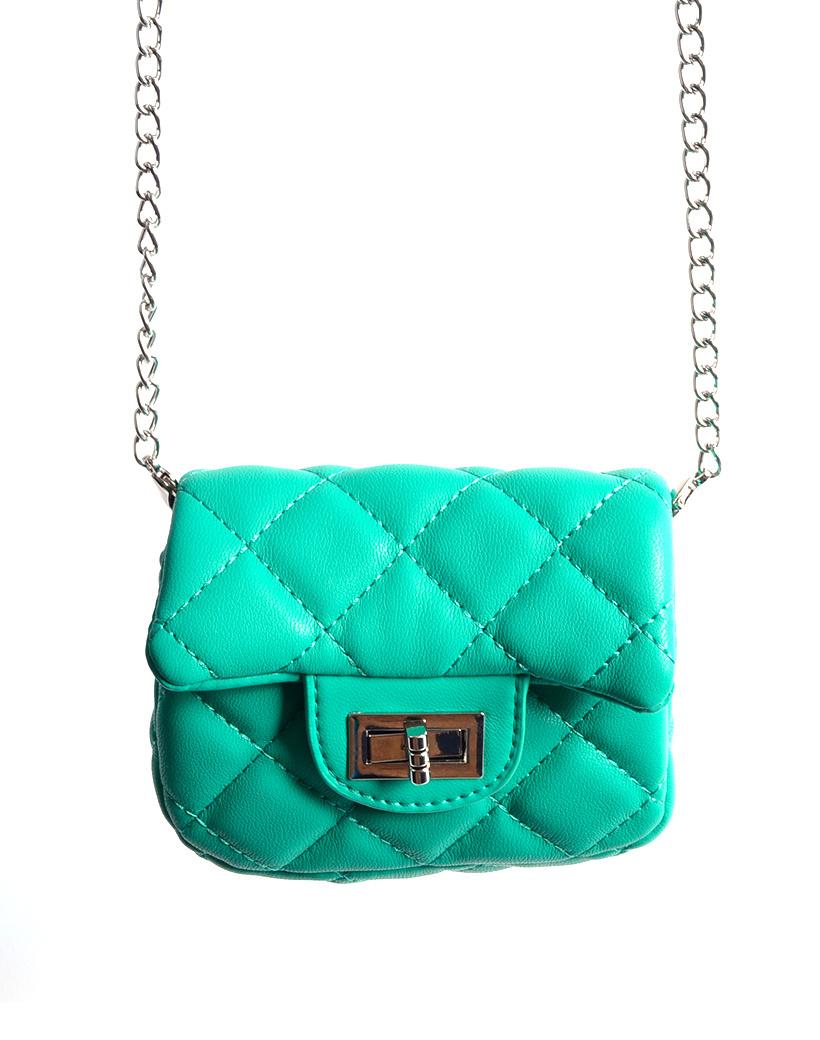 Schoudertasje Mini Flap Mint turquoise kleine look a like riem tasjes stiksels en schoudertasjes kopen