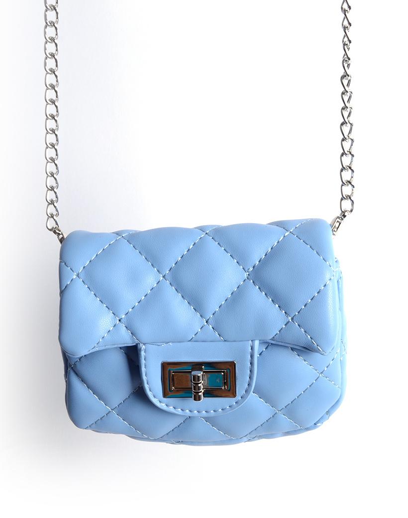 Schoudertasje Mini Flap Rainbow blauw blauwe kleine look a like riem tasjes stiksels en schoudertasjes kopen bestellen