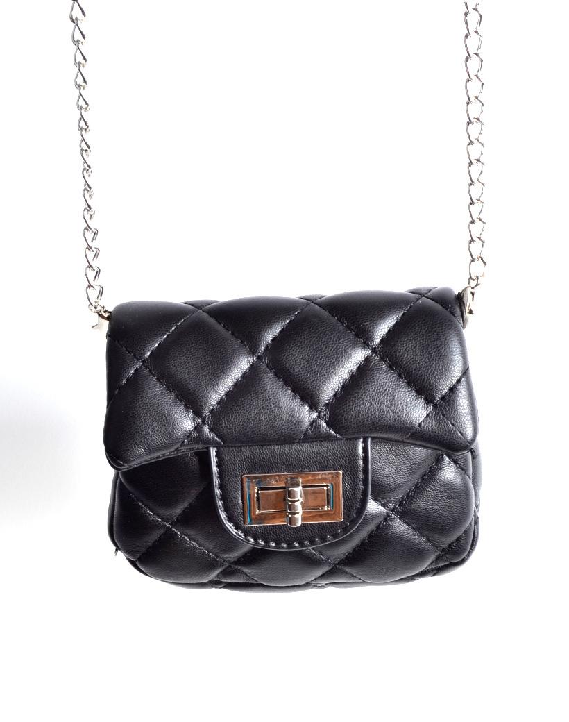 Schoudertasje Mini Flap Rainbow zwart zwarte kleine look a like riem tasjes stiksels en schoudertasjes kopen