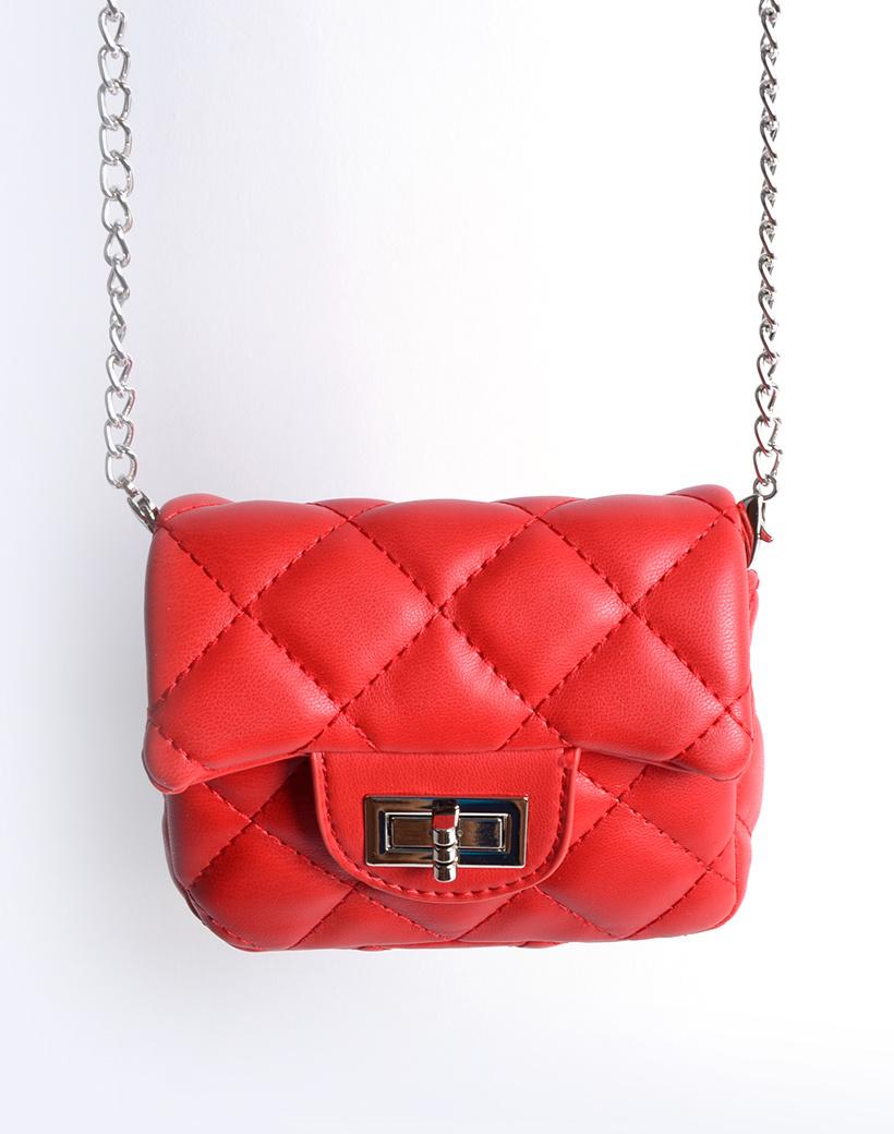 Schoudertasje Mini Flap rood rode kleine look a like riem tasjes stiksels en schoudertasjes kopen