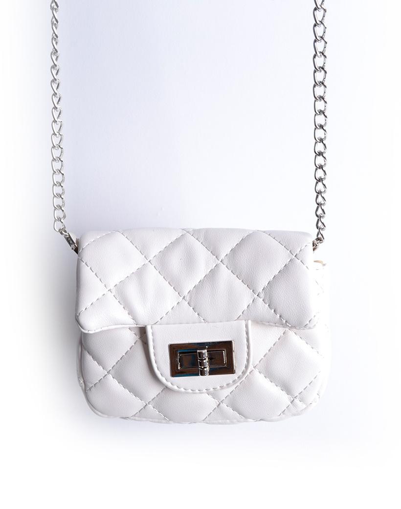 Schoudertasje Mini Flap wit witte kleine look a like riem tasjes stiksels en schoudertasjes kopen