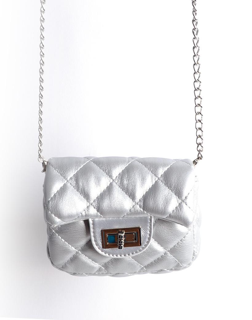 Schoudertasje Mini Flap zilver zilveren kleine look a like riem tasjes stiksels en schoudertasjes kopen