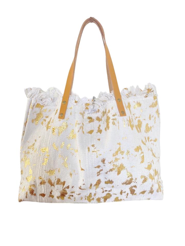 Strandtas Gold Leopard wit witte canvas shoppers handtassen met gouden leopard vlekken trendy musthave strandtassen online kopen bestellen (1)