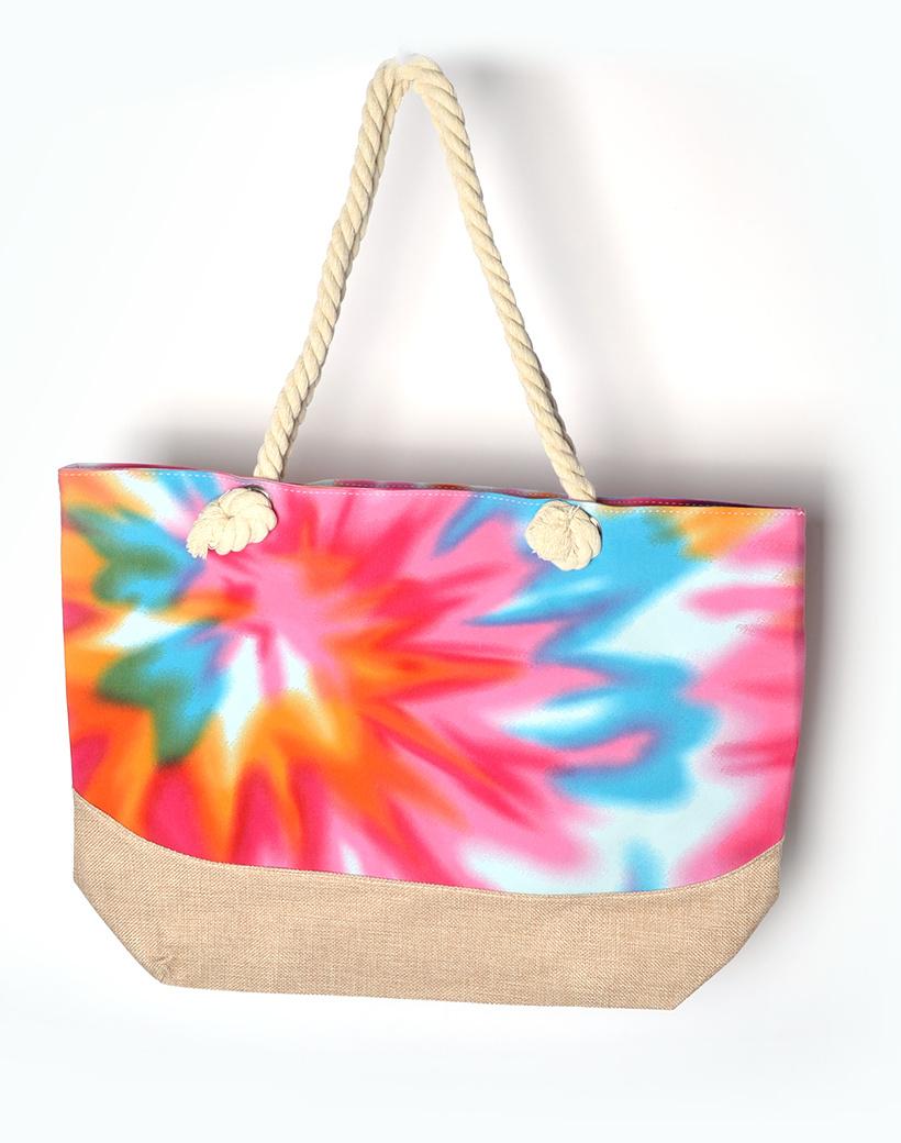 Strandtas Tie Die fuchsia blauw geel gekleurde strandtassen shoppers gekleurde rainbow print kopen bestellen tassen