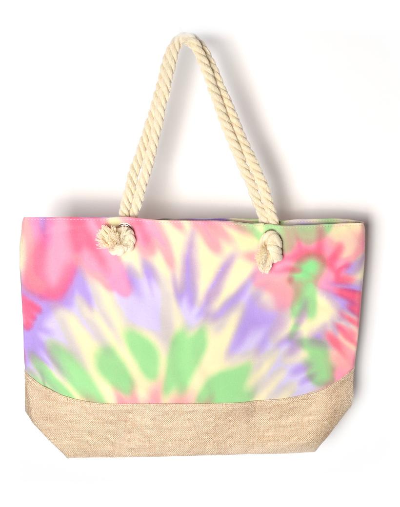 Strandtas Tie Die paars roze gekleurde strandtassen shoppers gekleurde rainbow print kopen bestellen tassen