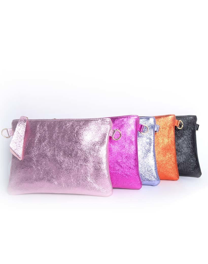 Suède Schoudertasje Metallic Shine vel gekleurde trendy leren crossbody tassen dames tasjes giuliano kopen bestellen