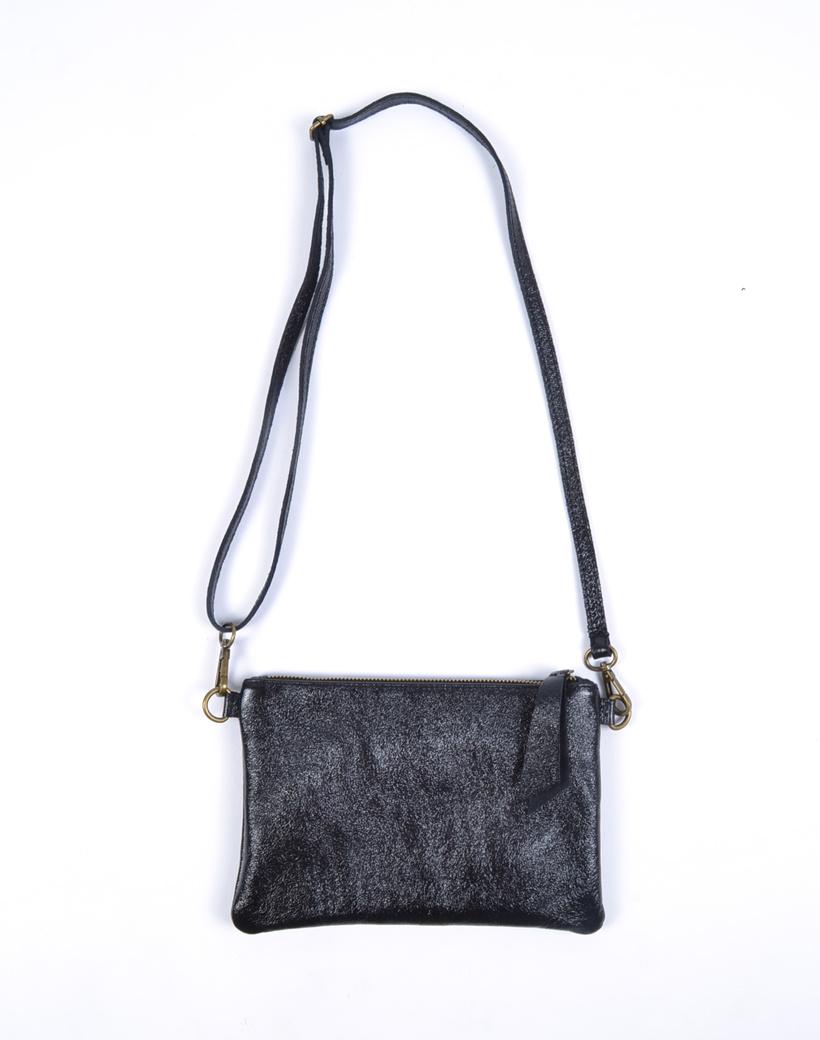 Suède Schoudertasje Metallic Shine zwart zwarte trendy leren crossbody tassen dames tasjes giuliano kopen bestellen