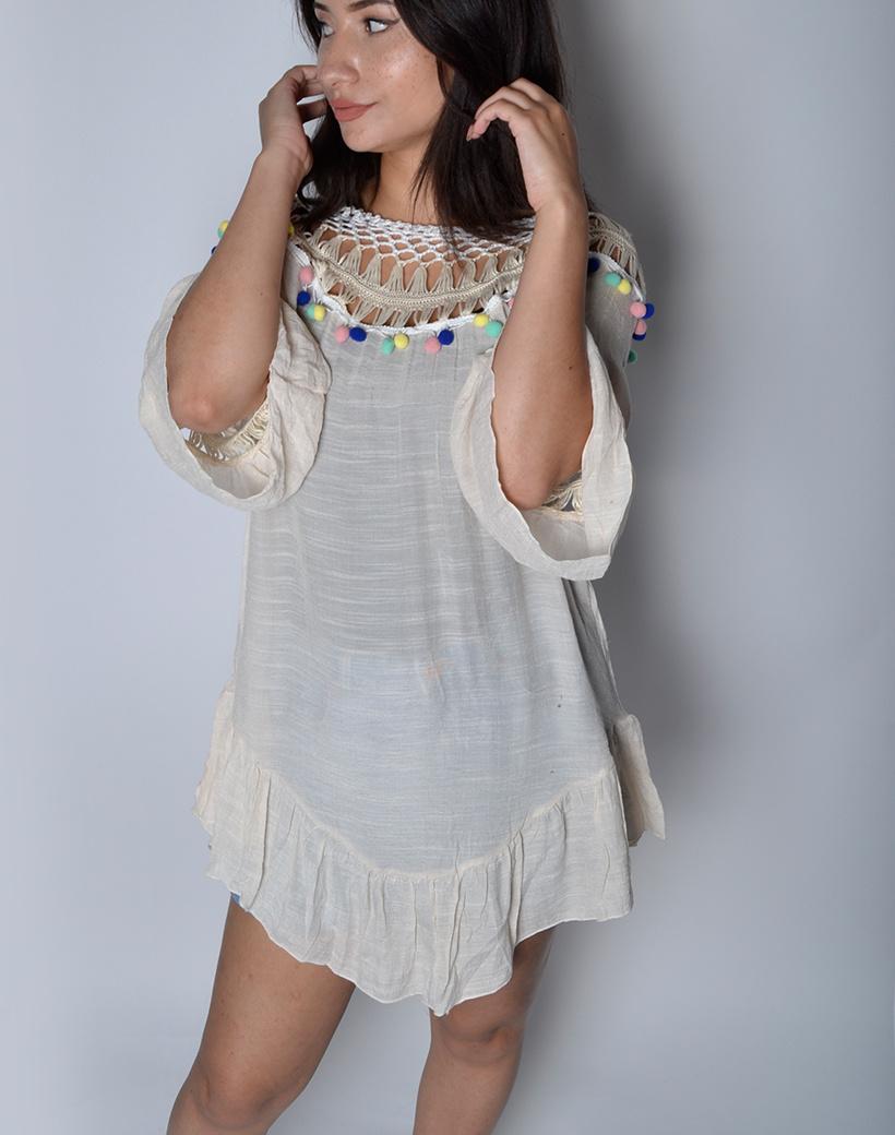 Tuniek Boho Pretty beige nude dames jurkjes gekleurde bolletjes bohemian Ibiza jurken jurkjes kopen bestellen zomer dames kleding vakantie
