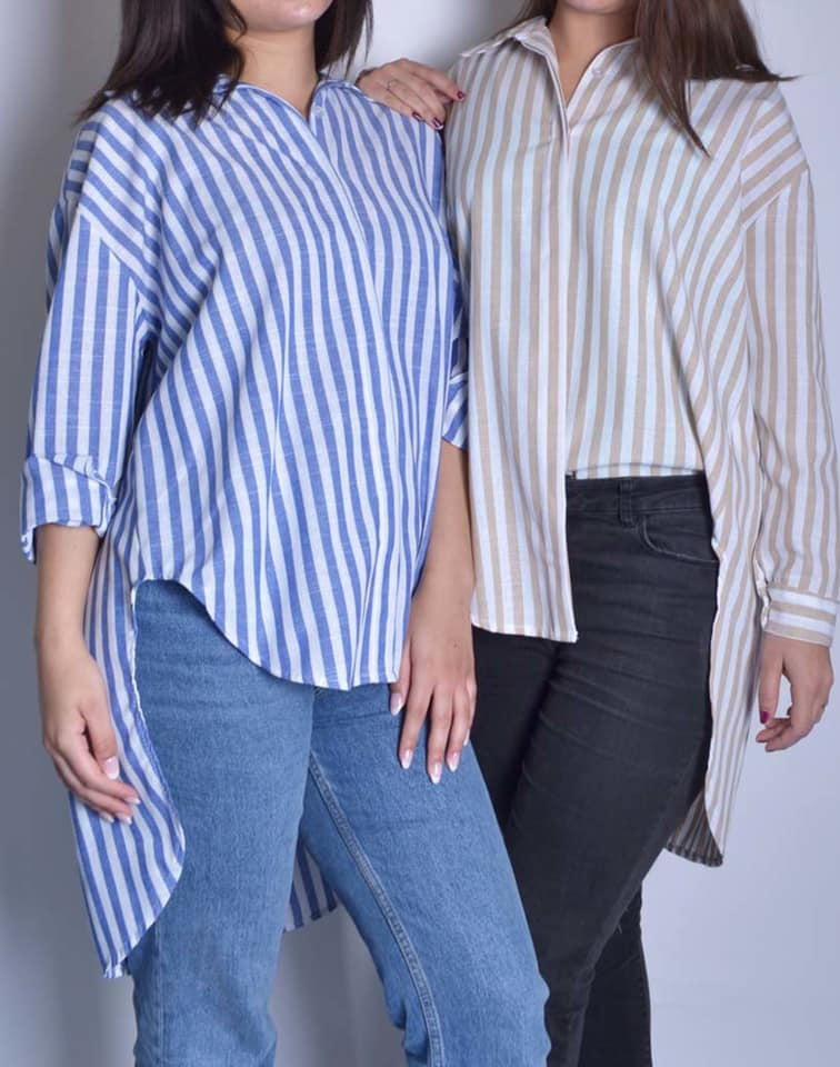 Blouse Stripes blauw blauwe beige getreepte dames hemden langere achterkant blauw wit gestreepte blousen trendy dames kleding kopen bestellen