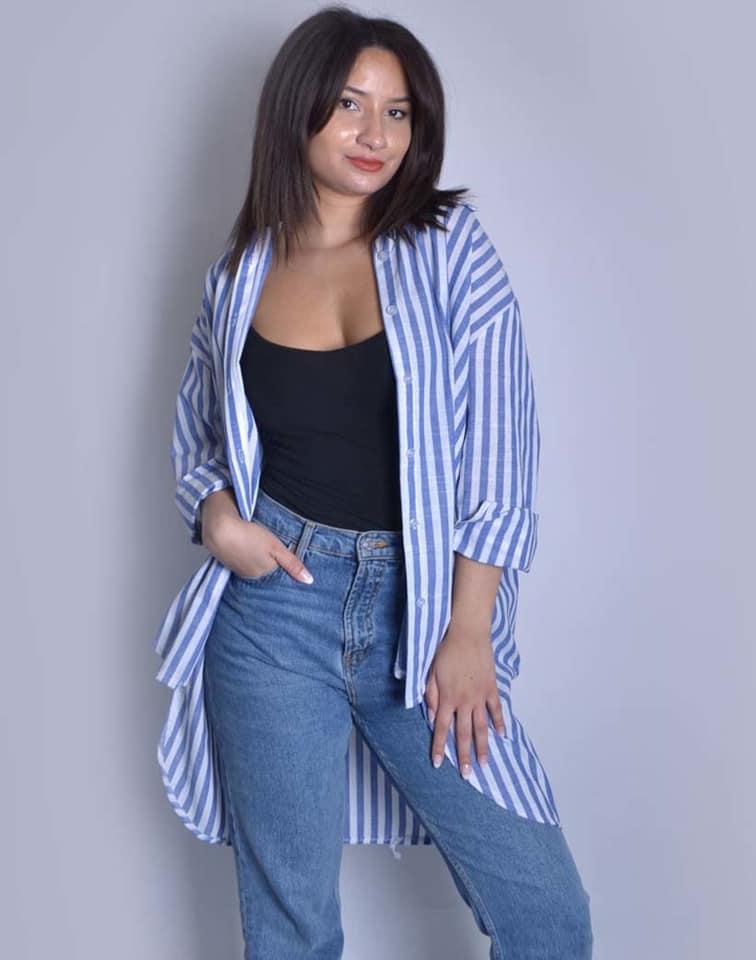 Blouse Stripes blauw blauwe dames hemden langere achterkant blauw wit gestreepte blousen trendy dames kleding kopen bestellen