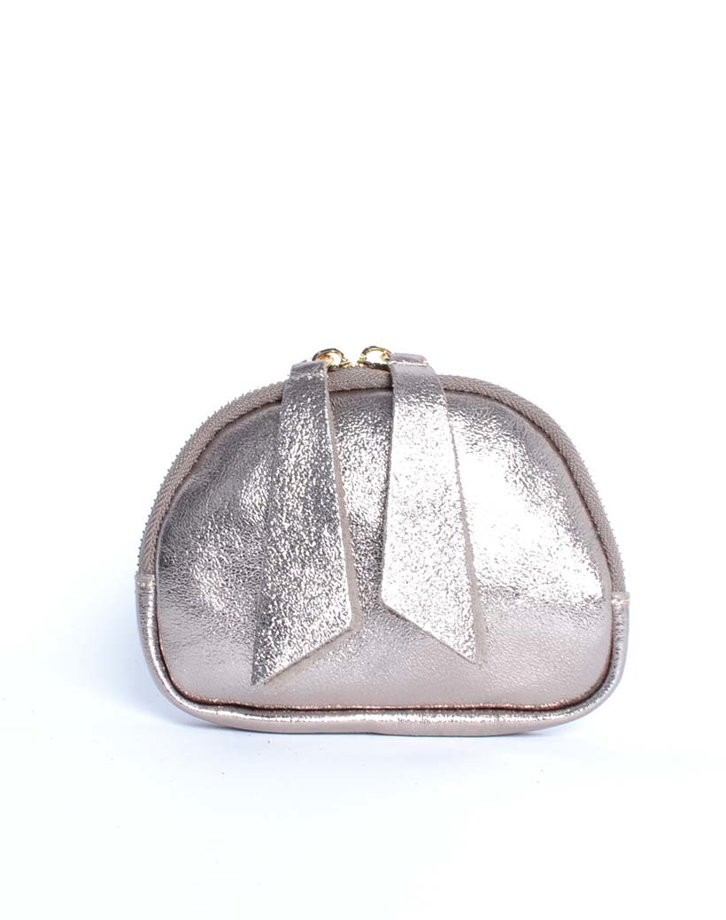 Leren Etui Metallic brons bronzen portemonnees portemonee leder rits felle metallic kleuren giuliano tassen kopen bestellen