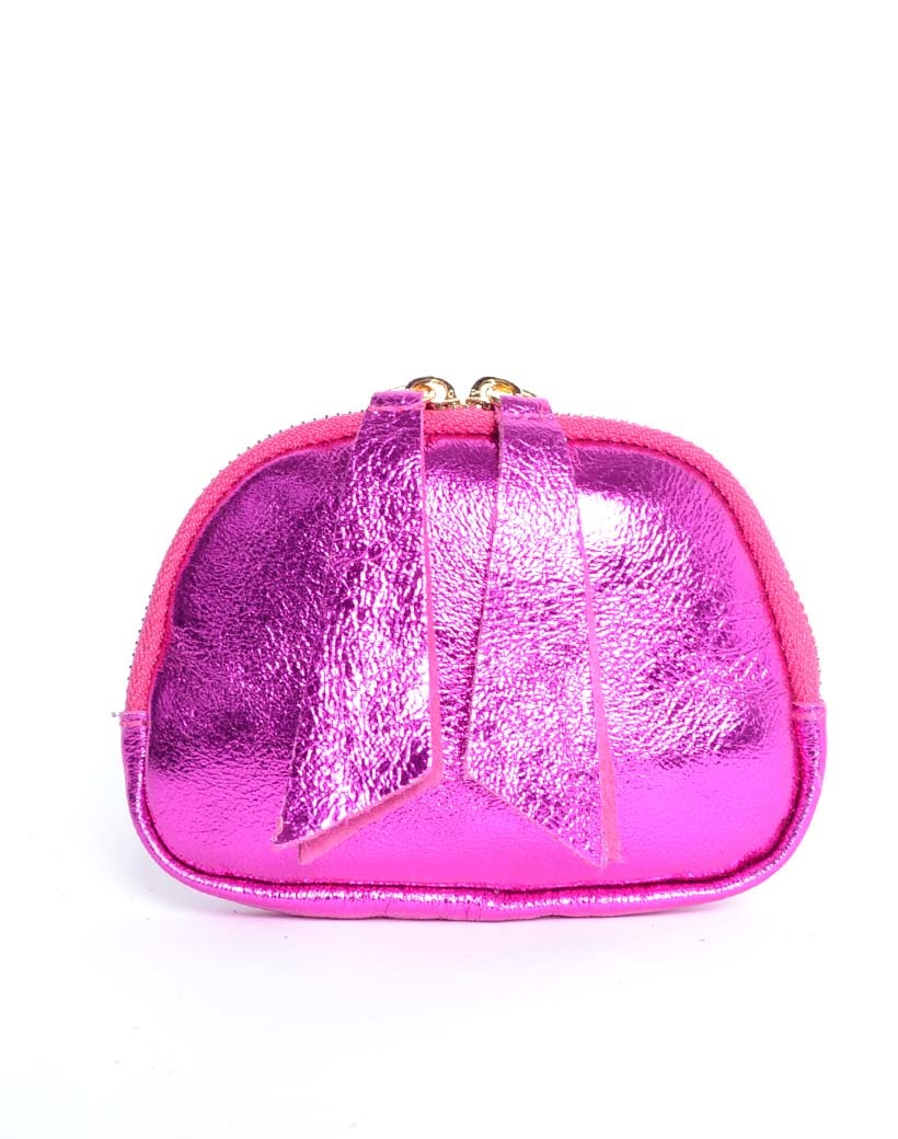Leren Etui Metallic fuchsia portemonnees portemonee leder rits felle metallic kleuren giuliano tassen kopen bestellen