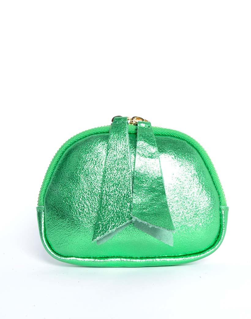 Leren Etui Metallic groen groene portemonnees portemonee leder rits felle metallic kleuren giuliano tassen kopen bestellen