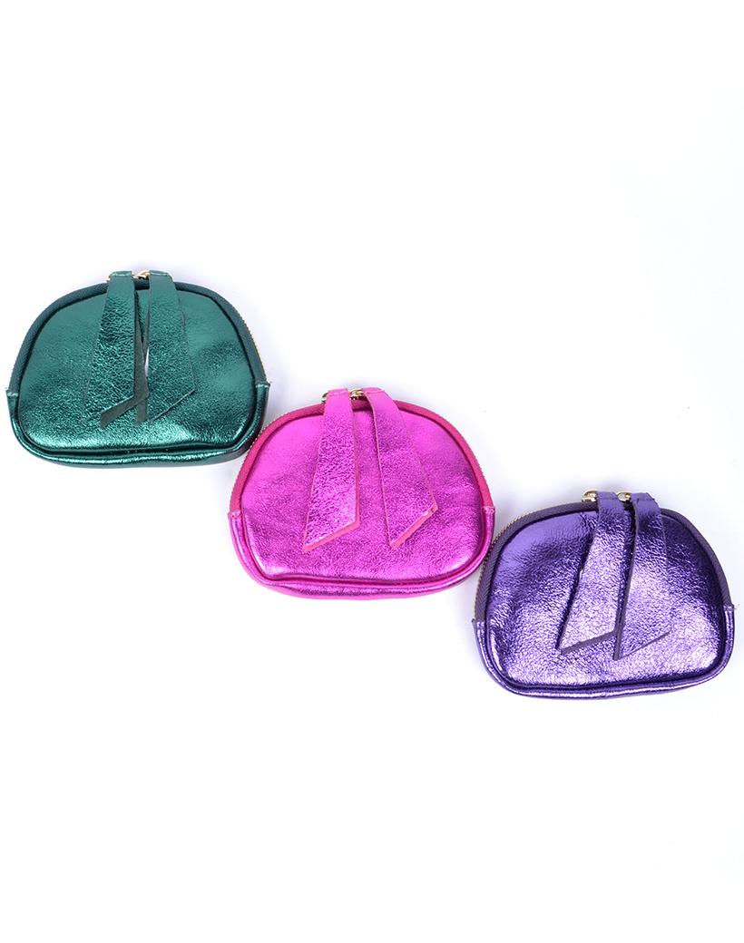 Leren-Etui-Metallic-paars paarse groen groene-portemonnees-portemonee-leder-rits-felle-metallic-kleuren-giuliano-tassen-kopen-bestellen-1