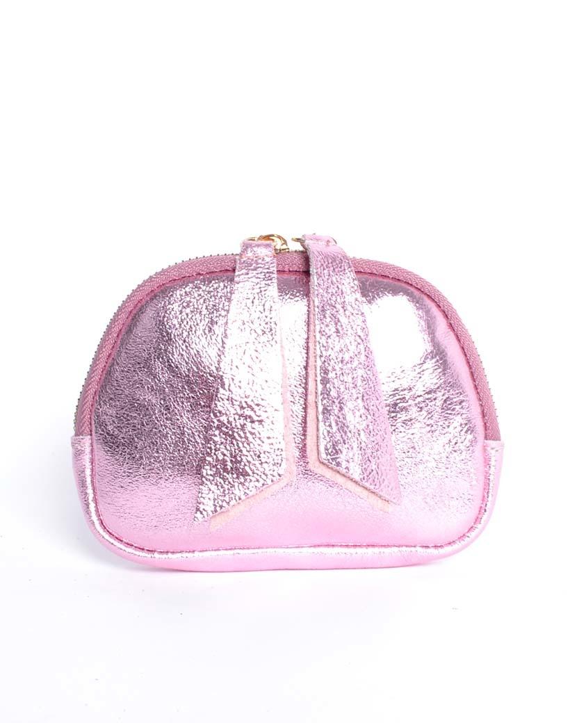 Leren Etui Metallic roze portemonnees portemonee leder rits felle metallic kleuren giuliano tassen kopen bestellen