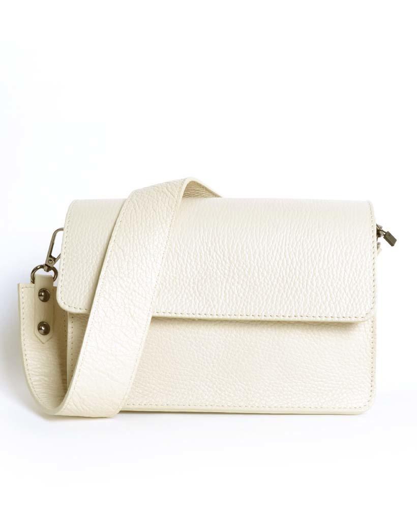 Leren Schoudertas Basic beige nude damestassen flap brede schouderband kopen bestellen giuliano