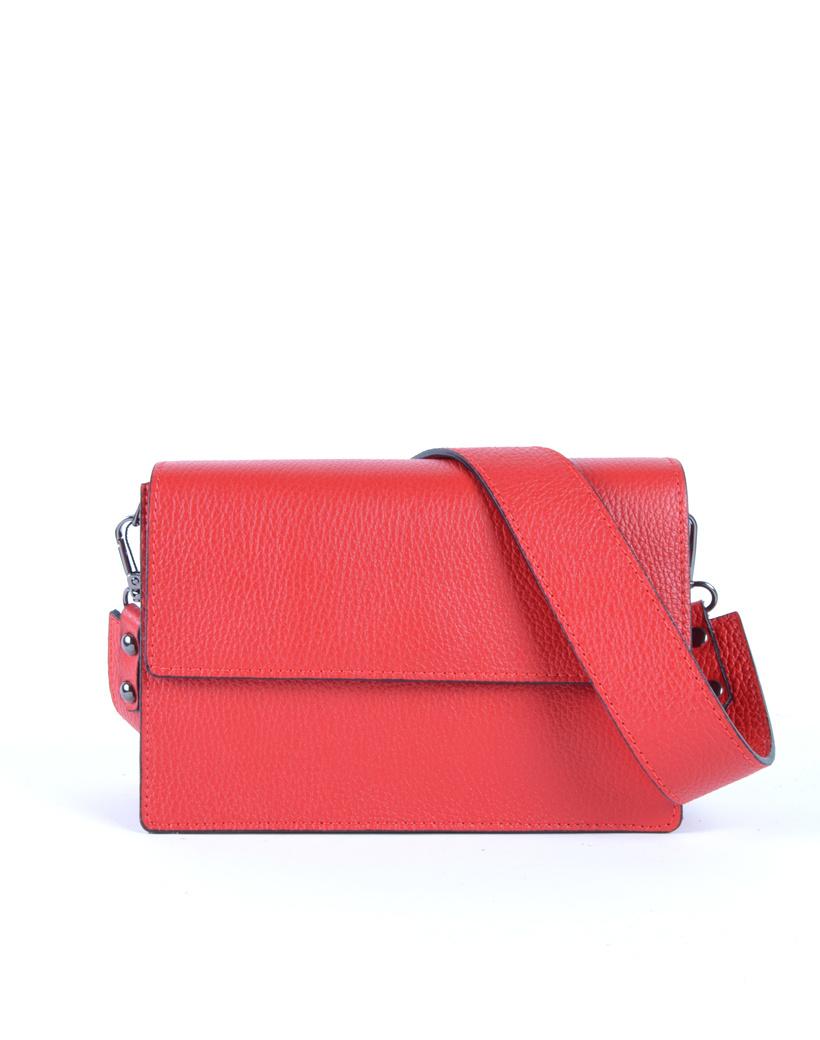 Leren Schoudertas Basic rood rode damestassen flap brede schouderband kopen bestellen giuliano