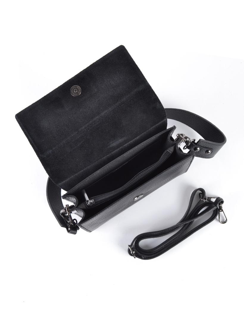 Leren Schoudertas Basic zwart zwarte damestassen flap brede schouderband kopen bestellen giuliano inside