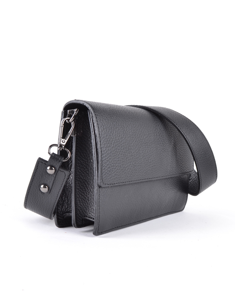 Leren Schoudertas Basic zwart zwarte damestassen flap brede schouderband kopen bestellen giuliano side