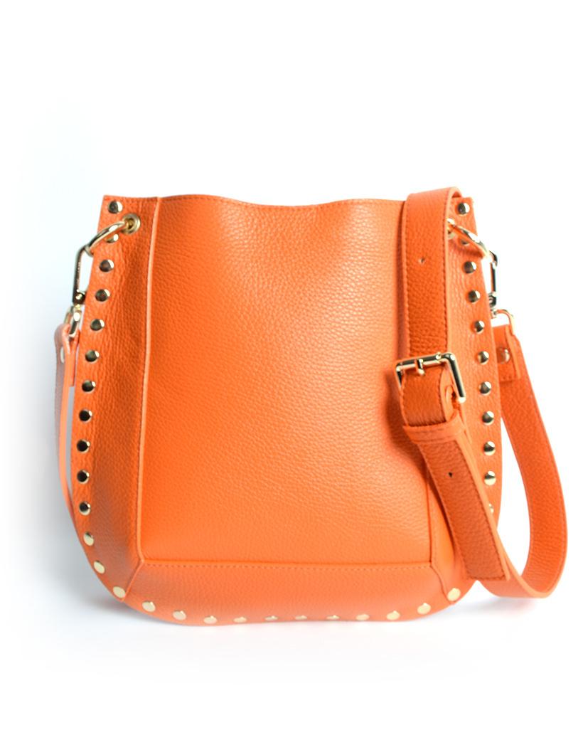 Leren Schoudertas Gold Studs oranje orange leren dames tassen itbags schoudertas tas giuliano kopen look a like bags bestellen mooie tassen