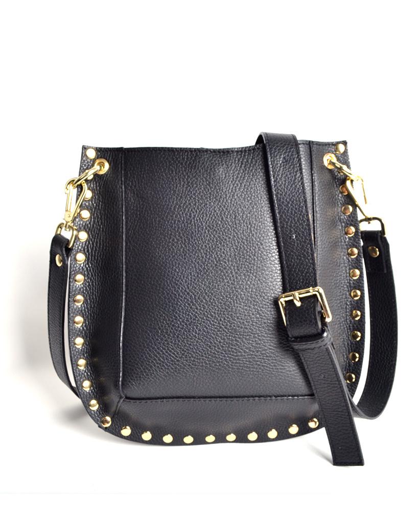 Leren Schoudertas Gold Studs zwart zwarte leren dames tassen itbags schoudertas tas giuliano kopen look a like bags bestellen mooie tassen