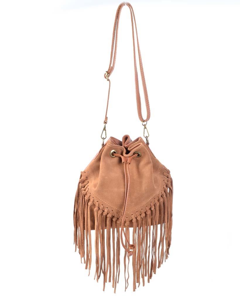 Suede Buideltas Fringe camel cognac leren dames tassen franjes trendy tassen kopen bestellen giuliano