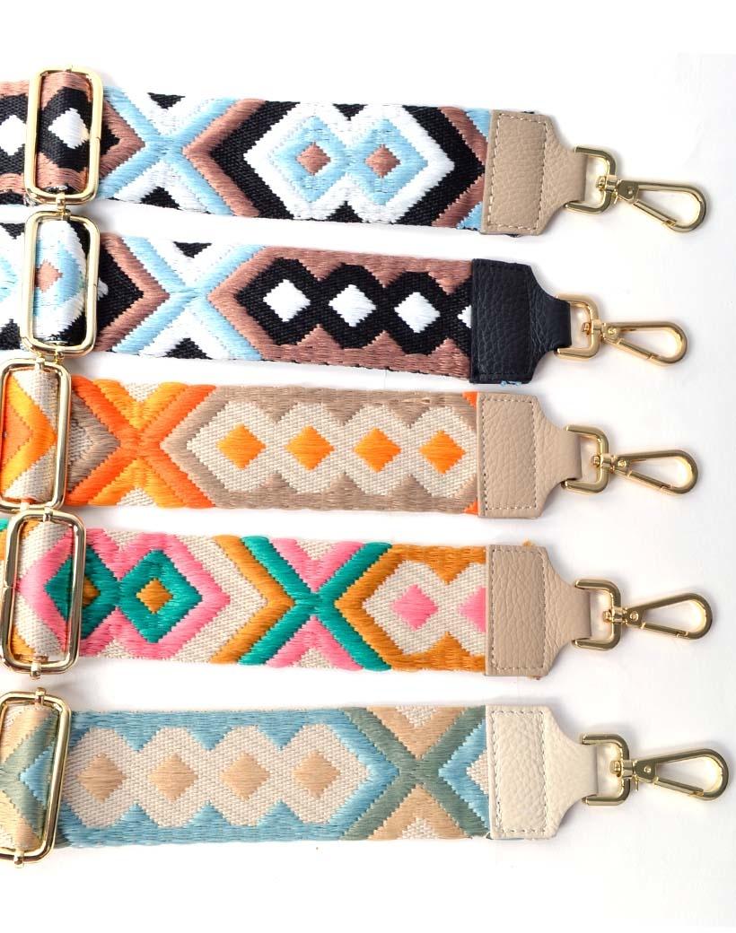 Tassenhengsel-Tapijt -trendy-tapijt print-bagstraps-losse-tassen-hengsels-zwart beige geel blauw-kopen-fashion-giuliano-kopen-bestellen