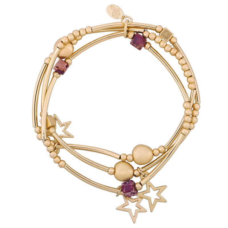 Armbanden Setje Starmix goud gouden dames armband 3 armbandtjes ster bedels en kralen kraaltjes leuke trendy dames sieraden kopen bestellen yehwang