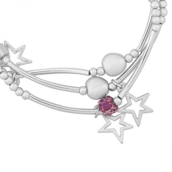 Armbanden Setje Starmix zilver zilveren dames armband 3 armbandtjes ster bedels en kralen kraaltjes leuke trendy dames sieraden kopen bestellen yehwang detail