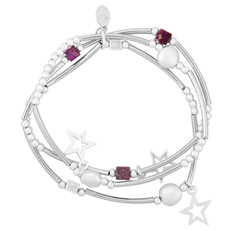 Armbanden Setje Starmix zilver zilveren dames armband 3 armbandtjes ster bedels en kralen kraaltjes leuke trendy dames sieraden kopen bestellen yehwang