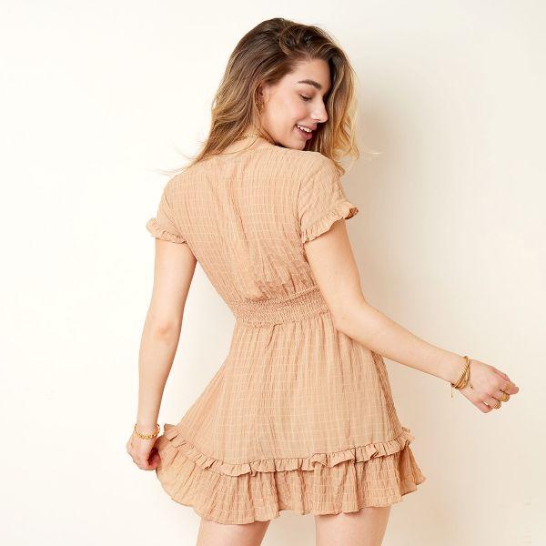 Bruine Jurk Trendy Bow bruin dames jurken Ruches onderkant strik voor decolte trendy zomer jurkjes dresses festival fashion kopen bestellen yehwang achter