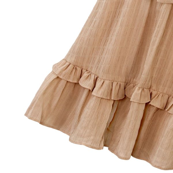 Bruine Jurk Trendy Bow bruin dames jurken Ruches onderkant strik voor decolte trendy zomer jurkjes dresses festival fashion kopen bestellen yehwang detail