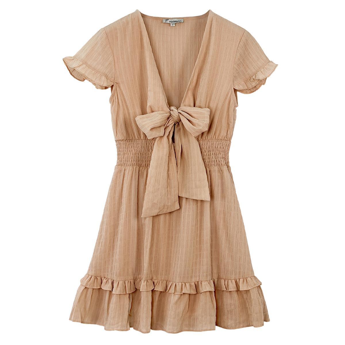 Bruine Jurk Trendy Bow bruin dames jurken Ruches onderkant strik voor decolte trendy zomer jurkjes dresses festival fashion kopen bestellen yehwang