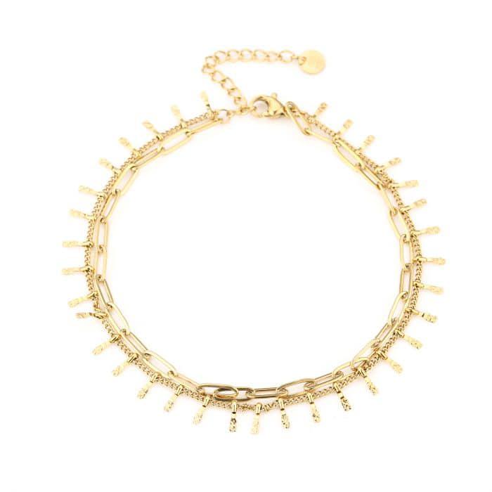 Enkelbandje Double Chain goud gouden enkelbandjes schakelketting twee laags enkel ketting kopen bestellen