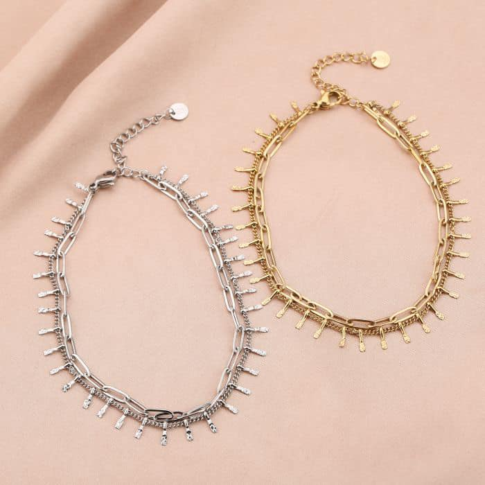 Enkelbandje Double Chain goud gouden zilveren zilver enkelbandjes schakelketting twee laags ketting kopen bestellen