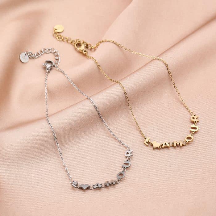 Enkelbandje L'Amour goud gouden zilveren zilver Enkelbandjes dames rvs sieraden Enkelbanden kopen bestellen